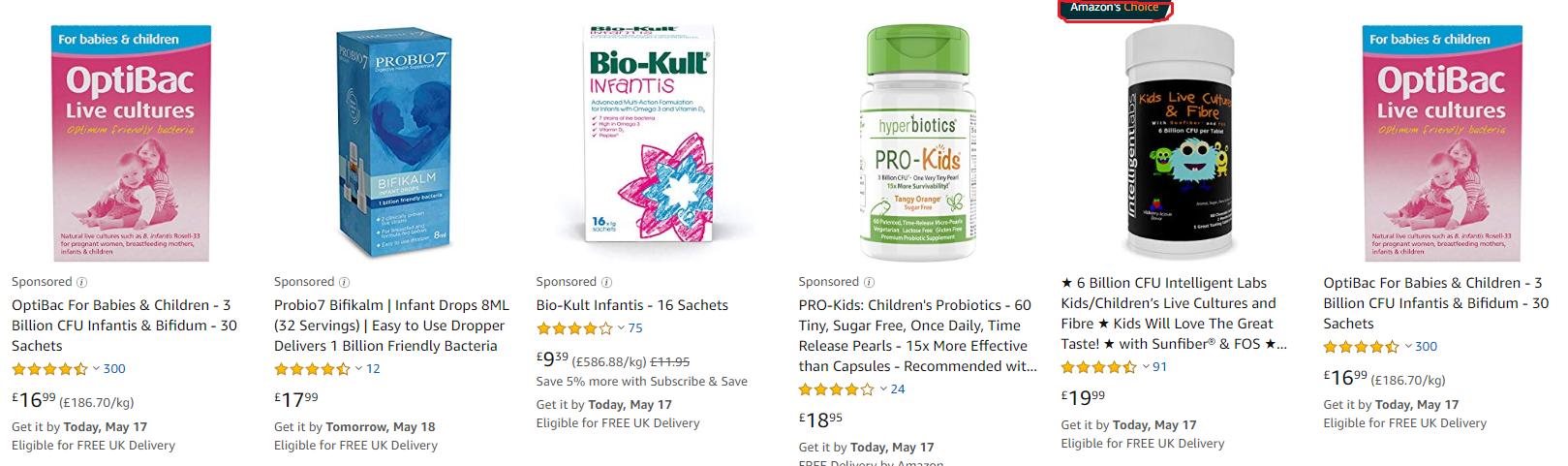 amazon search results probiotics for children