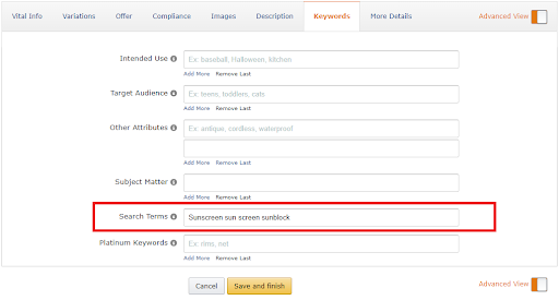 Backend keywords Amazon