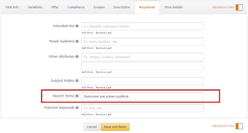 Backend keywords Amazon
