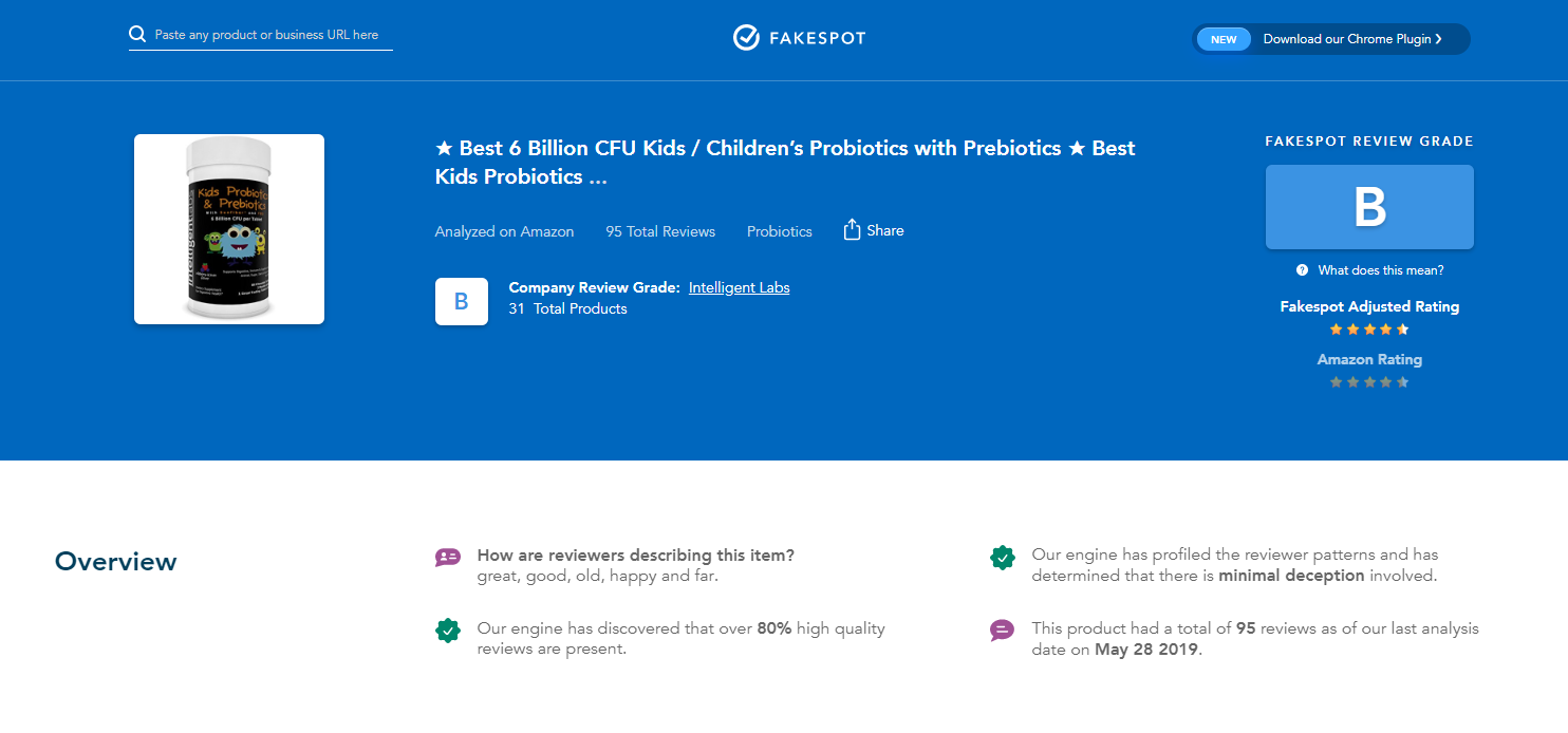 probiotic product rating on fakespot