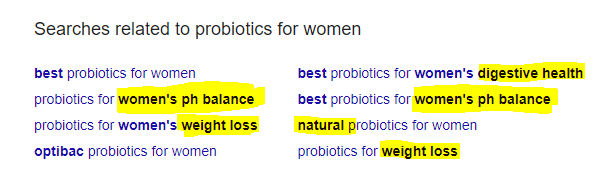Womans probiotics related searches