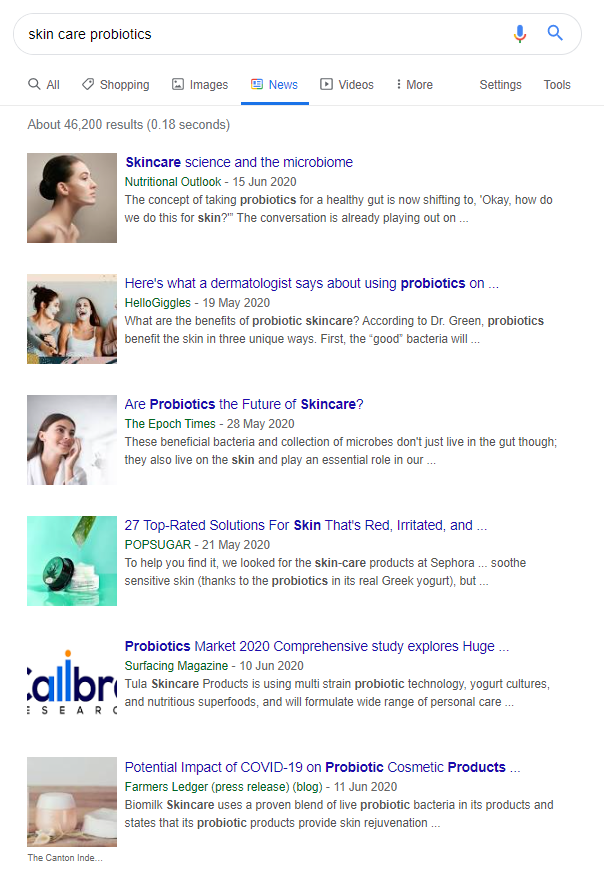 "Screenshot of Google News tab for ""skin care probiotics"""